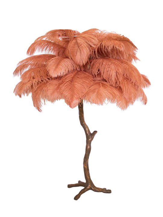 Mini Ostrich Feather Lamp with Silver Base in Coral Sweet Pea & Willow
